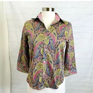 Chaps Womens PM Top Blue Pink Green Paisley Button